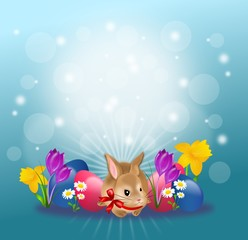 Easter rabbit with eggs and flowers background
