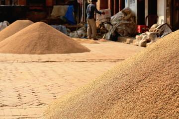 Paddy rice sundrying. Panauti-Nepal. 1092