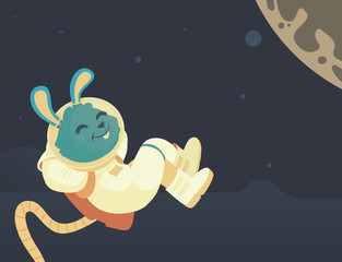 Bunny Relaxing in Space