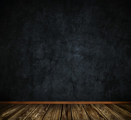 Dark grunge wall and old wooden floor background.