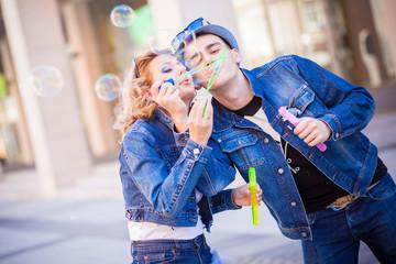 Jeans, soap bubbles
