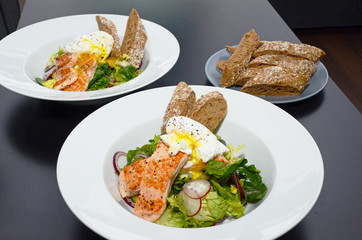 Salmon Salad with Egg Benedict, served with baguette