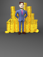 Smile Businessman With Coins On Black Text Space
