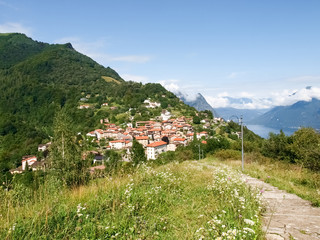 Bre. Lugano - Shots of the core with the mountains behind