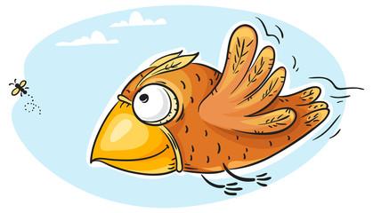 Bird catching fly
