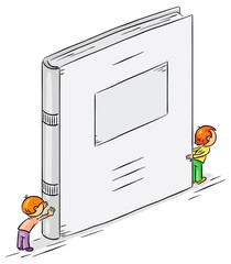 Cartoon characters holding a big book