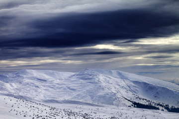 Winter mountains before storm