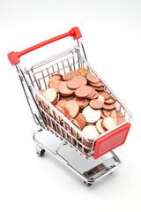 carro e compra lleno de monedas