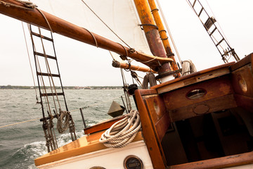 Sailing on a vintage classic wooden yacht