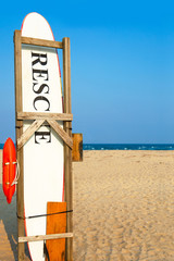 Rescue surfboard on the beach in case of emergency