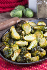 Roasted Brussels Sprouts in cast iron dish