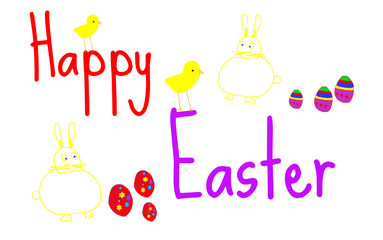 Happy easter concept sign with drawings and text
