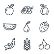 Fruit and vegetables icons linear style