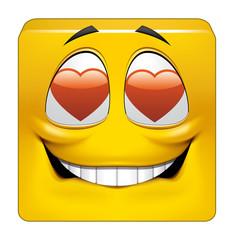 Square emoticon in love