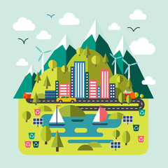 Mountain landscape nature, river, environmentally friendly