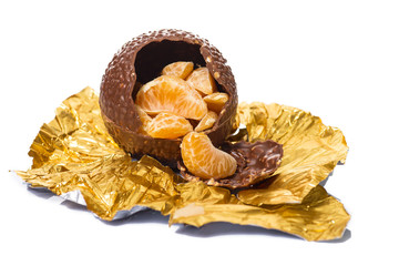 chocolate ball with nuts and orange