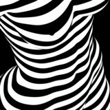 abstract female nude in op art style
