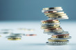 Leinwanddruck Bild - Euro coins. Euro money. Euro currency.Coins stacked on each othe