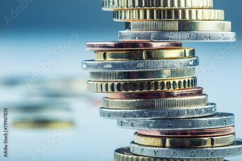 Euro coins. Euro money. Euro currency.Coins stacked on each othe