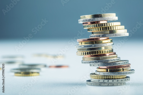 Leinwanddruck Bild Euro coins. Euro money. Euro currency.Coins stacked on each othe