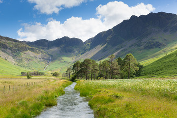 Lake District river and Haystacks mountain Buttermere UK