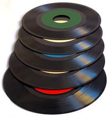 Vintage 45 RPM vinyl record albums