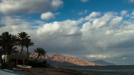 HD time lapse of  sea & Sinai mountains in Dahab, Egypt.