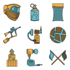Flat color design icons for paintball