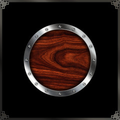 Wooden plate with riveted metallic border.