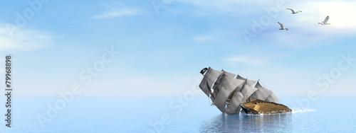 Leinwanddruck Bild Pirate Ship sinking - 3D render