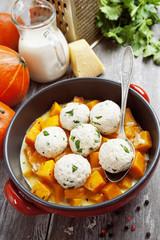 Baked pumpkin and chicken meatballs