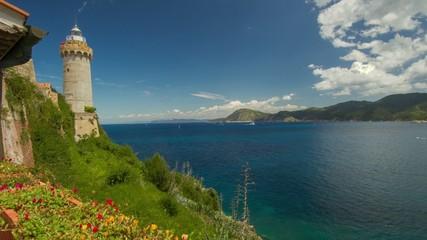HD time lapse with lighthouse of Portoferraio, Elba, Italy.