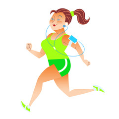 Sporty woman running herding weight kilocalories listens to musi