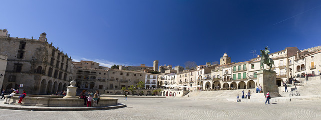 Panoramic view of the Plaza in Trujillo Extremadura Spain