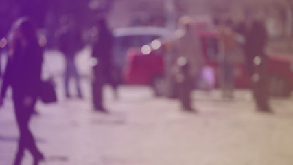 Blur Crowd of People Walking On the Street in Bokeh