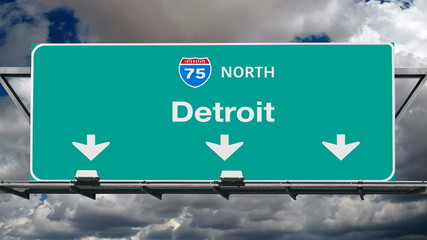 Detroit Interstate 75 Freeway Sign Time Lapse