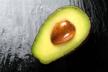 Top View of a Half Ripe Avocado. Clean Eating Concepts