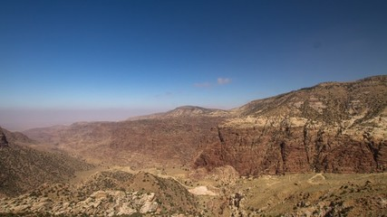 HD time lapse video of the valley from Dana village, Jordan.