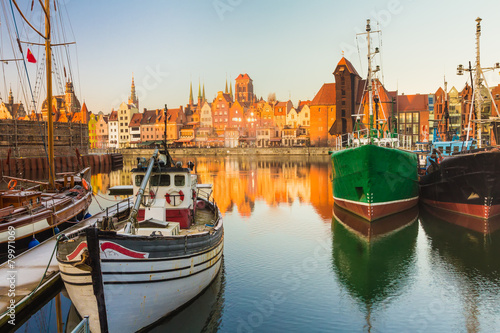 Poster Stad aan het water Morning scenery of Gdansk old town in Poland