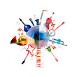 Colorful musical instruments background - 79971249