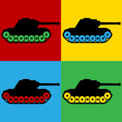 Pop art panzer symbol icons.