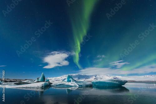 aurora borealis in jokulsarlon, iceland ice lagoon