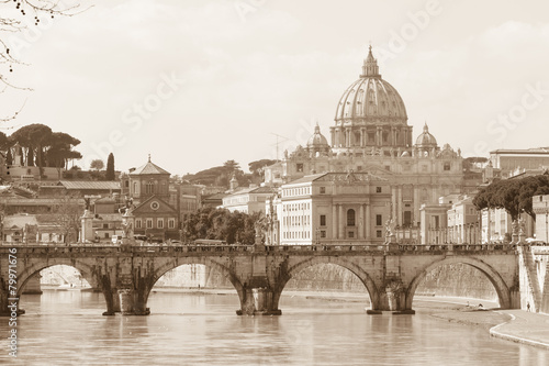 Fotobehang Rome Vatican view and Ponte Sant'Angelo across Tiber in Rome