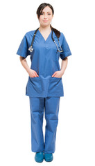 Full length beautiful nurse on white background