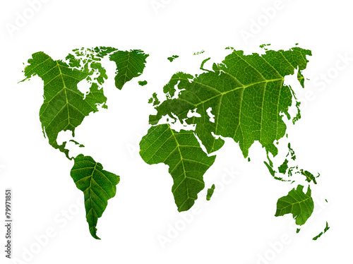 eco world map made of green leaves - 79971851
