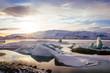 Iceland, sunset over Jokulsarlon Glacier Lagoon