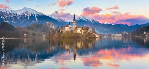 Bled in sunset, Slovenia, Europe. - 79972000