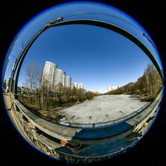 Pushkino, Russia. City spring landscape, fisheye view