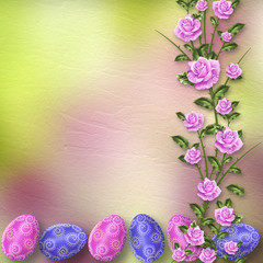 Pastel background with multicolored eggs and roses to celebrate