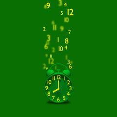 Green alarm clock with flying numbers out of focus.